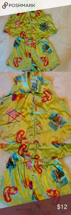 Pajamas Set This is adorable pajamas size medium. Great condition. Top and shorts.  Any questions please feel free to ask. Thanks for viewing our Closet. Don't forget to bundle and save. Happy Poshing! California Dynasty Intimates & Sleepwear Pajamas
