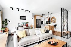 A small living room can look bigger with the right design. From decorating walls, to designing the interior, get inspired by these living room design ideas! Condo Interior Design, Small Apartment Interior, Interior Design Singapore, Condo Design, Scandinavian Interior Living Room, Living Room Interior, Scandinavian Style, Condo Living Room, Living Room Designs