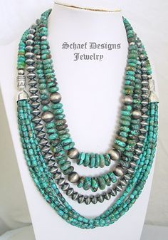 Schaef Designs rich blue Hubei turquoise & vintage style sterling silver saucer bead necklace pairing | New Mexico