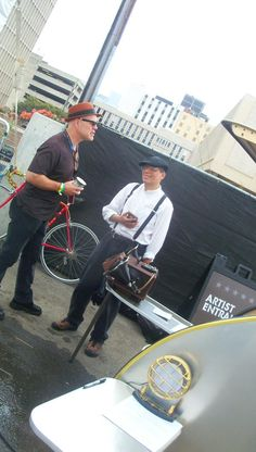 """Anachronistic musician Thomas Dolby (""""She Blinded me with Science,"""" 1982) and yours truly, Steampunk artist J. """"Wilhelm"""" discussing the intricacies and vagaries of anachronism at the """"South by Southwest"""" (SXSW 2012) Festival in Austin, Texas."""