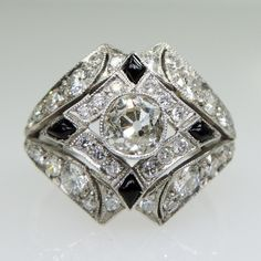 Antique Art Deco Platinum Diamond & Onyx Ring  – Rozental Antiques