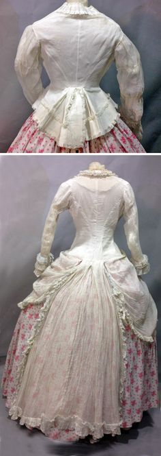 Summer dress ca. 1860. Two bodices: one of silk gauze with ruched edges, and one a Polonaise of fine muslin. Thierry de Maigret Auctions