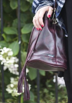 zatchels oxblood bucket bag leather made in england damson drawstring bag