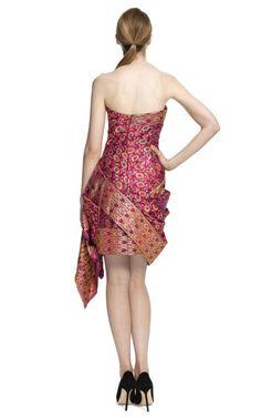 Marchesa | Pink Strapless Sari Cocktail Dress | Lyst