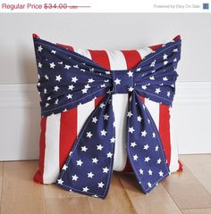 MEMORIAL DAY SALE Patriotic Pillow, Red White and Blue Pillows, Fourth Of July Bow Pillow -New Design-