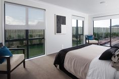 Lots of glass to take in your surroundings, from the master bedroom. Living Area, Master Bedroom, House Design, Windows, Glass, Furniture, Home Decor, Master Suite, Decoration Home