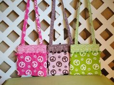 Girls Peace Sign Shoulder Bag  in Your Choice of Colors | JRsPillowsandBags - Bags & Purses on ArtFire