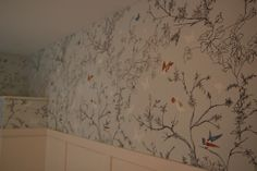 drawn on with a sharpie marker, to mimic  $$$ schumacher wall paper. i wanna do this in my bathroom!