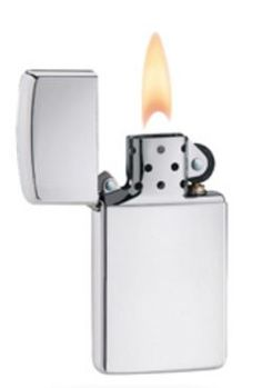 Armor Slim High Polish Chrome Zippo Lighter  Armor™ elegance. Beautiful in its pure, undecorated state. This high polish chrome lighter features a slim profile with a rounded lid. Comes packaged in an environmentally friendly gift box. For optimal performance, use with Zippo premium lighter fluid.