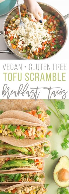 Tofu Scramble Tacos -- This tofu scramble recipe is so easy to make and is packed with veggies and protein. Upgrade your breakfast routine or try these healthy vegan tacos for lunch or dinner. They are perfect for any time of the day and so easy to make! Vegan Breakfast Recipes, Vegan Recipes, Vegan Food, Vegan Vegetarian, Scrambled Tofu Recipe, Tofu Scramble, Vegan Tacos, Glutenfree, Routine