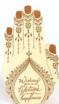 """Wishing you a lifetime of happiness"" Henna Wedding Card"