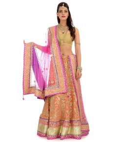 Pale Orange Lengha Set with Gota Patti Patterns  | Exclusively.in