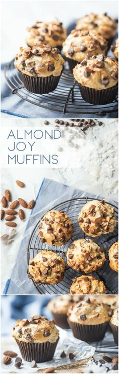 LOVED how tall and moist these Almond Joy Muffins came out! Chocolate, almonds, and coconut go so well together! food breakfast chocolate