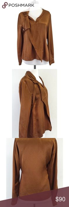 Elie Tahari Copper Silk Blouse EUC 100% silk blouse.  Copper color with textured material and bow/ruffle down the front. Elie Tahari Tops Blouses