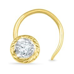 Jpearls Single Diamond Gold Nose Pin