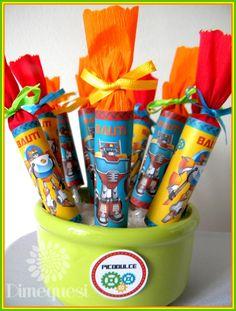 Para Bauti preparamos esta mesa de golosinas con mucho color con sus personajes favoritos.             Bocaditos Cabsha.      Chocolates. ...