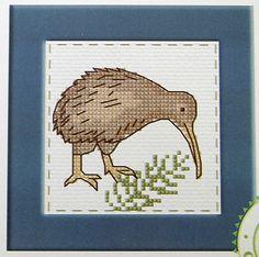 Kiwi Bird & Fern - New Zealand - Semco counted cross-stitch card kit