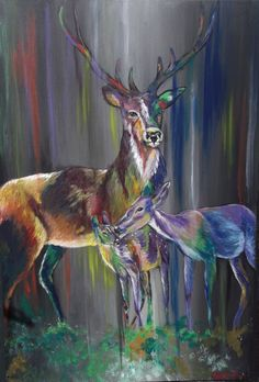 "Deer Family By Helen Leigh  Abstract Expressionist-Drip Painting (style)  Materials:  Acrylic and Metallic Paint on Canvas  LARGE 90cm x 60cm x 3.5cm (24"" x 36"") - Exhibition Grade Canvas."
