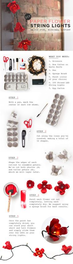 Easy DIY paper flower string lights! Made out of egg cartons!