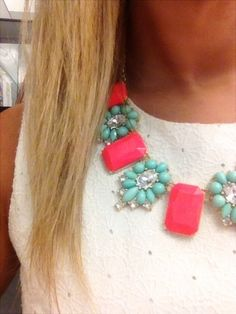 Bright coral and mint rhinestone statement necklace