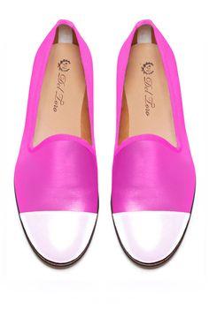 Prince Albert Fuschia Nappa Slipper Loafers With White Nappa Leather Captoe by Del Toro - Moda Operandi