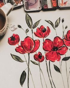 Painting giant poppies in honour of Rememberance Day ✨ Painting Inspiration, Art Inspo, Art Sketches, Art Drawings, Disney Drawings, Posca Art, Arte Sketchbook, Watercolor Paintings, Watercolors