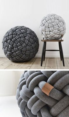 Karmela's Vintage Corner: Today we are going to talk about the * Knot Pillows * the dive . Hand Knit Blanket, Chunky Blanket, Knitted Blankets, Diy Pillows, Cushions, Knot Pillow, Arm Knitting, Diy Furniture, Diy Home Decor