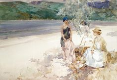 On a West Highland Beach (1918). Sir William Russell Flint (Scottish, 1880-1969). Watercolour.Here a pretty female artist contemplates her work, while her young model dressed as an Amazon or Greek maiden, awaits an invitation to inspect the picture. The whole scene is bathed in brilliant summer lights, which flickers from the water and the white sands and the foreground is patterned with the dappled shade of leaves from the over-hanging branches. The watercolour captures a mood of tranquil…