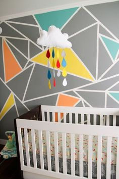 Archer's Colorful Nursery with Geometric Elements -- geometric design for wall -- no baby required!