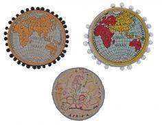 2 pin cushion maps pf the Eastern Hemisphere, : Lot 81