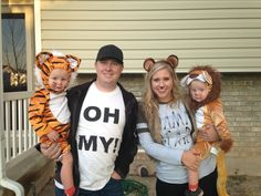 Lions, tigers, and bears! Toddler Bear Costume, Baby Tiger Costume, Tiger Halloween Costume, Lion Halloween, Sibling Halloween Costumes, Purim Costumes, Themed Halloween Costumes, Pop Culture Halloween Costume, Creative Halloween Costumes