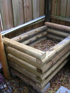Do-it-yourself Compost Bin--drill holes through each piece of wood on both ends, then stack and insert a long dowl or rebar from top to bottom so the box will stay together & can be assembled & disassembled