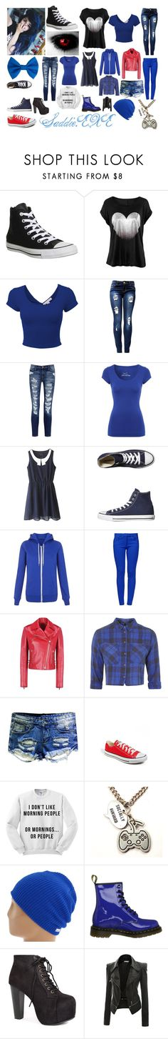 """Saddie Eadith, daughter of Sonic.EXE"" by frootloop16 ❤ liked on Polyvore featuring Converse, LE3NO, Current/Elliott, Jane Norman, Boutique Moschino, Valentino, Topshop, Neff, Dr. Martens and Doublju"