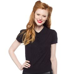 COLLECTIF FREDDIE KNITTED TOP BLACK $62.00 #collectif #pinup retro #rockabilly