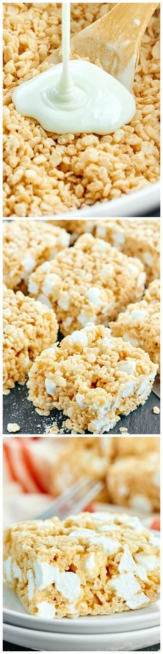 Rice Krispie Treats - Only four ingredients, ten minutes, and one pot to make the BEST Rice Krispie Treats!