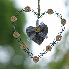 Country Style Hanging Heart with Buttons available from www.theweddingofmydreams.co.uk #theweddingofmydreams @The Wedding of my Dreams #heart #hangingdecorations