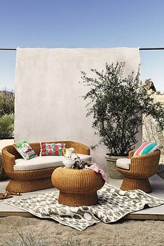Wicker set that I want for my bedroom/porch -anthropologie.com #anthroregistry #anthropologie