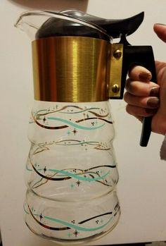 VTG LIBBY heat ware Turquoise & Gold atomic stars  Decanter Carafe coffee #LibbyDavidDouglas