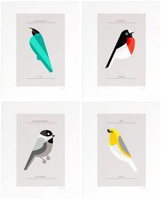 series of limited edition modern bird prints by Josh Brill