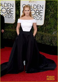 c6ef7d04ee379 Amy Schumer Wear For 2016 Golden Globes Awards Evening Gowns Red Carpet Plus  Size White And Black Prom Dresses Off Shoulder A Line Satin Designer Gowns  ...