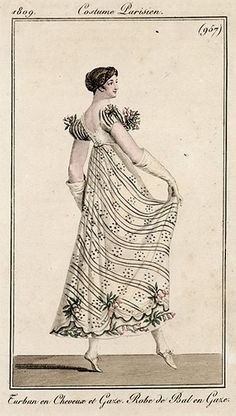 Sprigged gown, 1809 Costume parisien