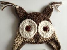 Crochet Owl Hat in Neutrals