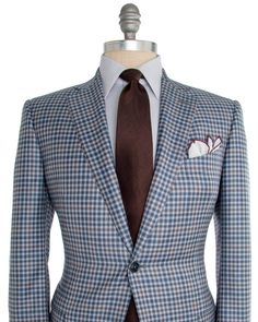 Image of Ermenegildo Zegna Blue and Tan with Light Grey Large Check Sportcoat Smart Casual Blazer, Designer Suits For Men, Smart Men, Checked Blazer, Dressed To Kill, Hot Outfits, Suit And Tie, Blazers For Men, Mens Suits