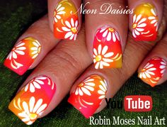 Most current Pic Toe Nail Art daisy Concepts Generally as soon as we expect involving foot, we presume there're grubby and indeed not really th Neon Nail Art, Floral Nail Art, Cute Nail Art, Nail Art Diy, Easy Nail Art, Beautiful Nail Art, Toenail Art Designs, Cute Nail Designs, Nail Art Blog