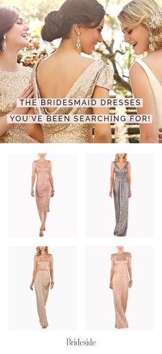 Find the perfect metallic bridesmaid dresses at Brideside. Shop for your favorites and we'll take care of the rest! We'll even send samples to your house to try on at home. Sign up and get started!  #Bridesmaids