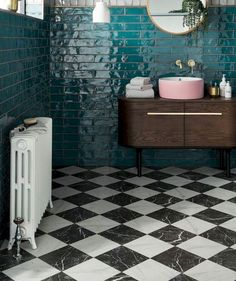 What a beautiful teal blue tile. Especially with the black and white floor and s. What a beautiful teal blue tile. Especially with the black and white floor and splash of pink sink! Bathroom Tile Designs, Bathroom Interior Design, Bathroom Ideas, Bathroom Renovations, Bathroom Organization, Shower Ideas, Bad Inspiration, Bathroom Inspiration, Wooden Vanity Unit