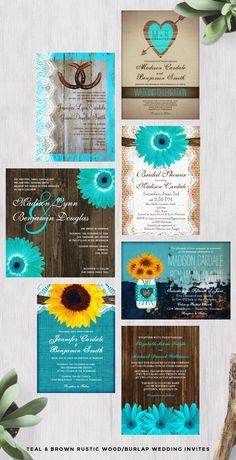 Teal Aqua Turquoise and Brown Rustic Wood/Burlap Wedding Invitations. Rustic #CountryWeddingInvitations with a bright colorful aqua blue green daisy flowers, or  laces, mason jar on brown wood or burlap background. Perfect for a western wedding, country wedding, barn wedding and more. Matching Items: teal daisy wedding invitations, aqua flower wedding, daisy themed wedding, rustic #daisyweddinginvitations. #weddinginvitations  #rusticweddinginvitations