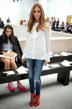 White blouse, Denim Skinnies, Red Heels | Olivia Palermo