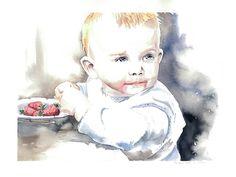 Child portrait, baby portrait, watercolor