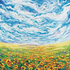 Big Sky, Small Sunflowers by Iris Scott is printed with premium inks for brilliant color and then hand-stretched over museum quality stretcher bars. 60-Day Money Back Guarantee AND Free Return Shipping.